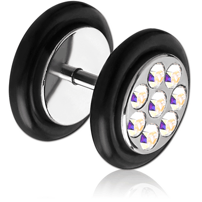 SURGICAL STEEL MULTI JEWELLED FAKE PLUG
