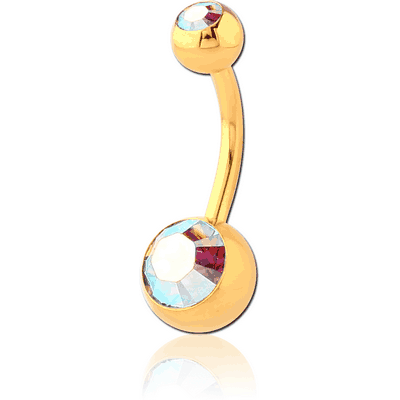 GOLD PVD COATED SURGICAL STEEL DOUBLE SWAROVSKI CRYSTALS JEWELLED NAVEL BANANA