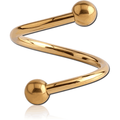 GOLD PVD COATED SURGICAL STEEL MICRO BODY SPIRAL