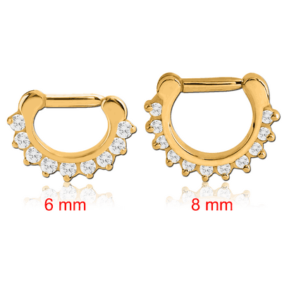 GOLD PVD COATED SURGICAL STEEL ROUND PRONG SET SWAROVSKI CRYSTAL JEWELLED HINGED SEPTUM CLICKER RING