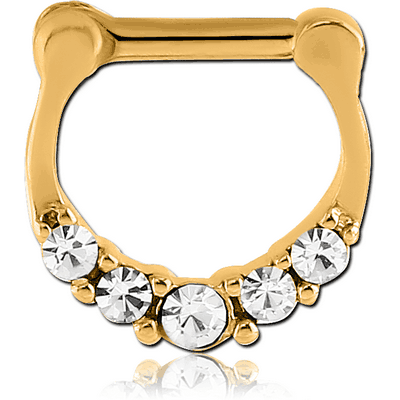 GOLD PVD COATED SURGICAL STEEL ROUND JEWELLED HINGED SEPTUM CLICKER