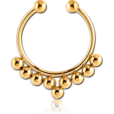 GOLD PVD COATED SURGICAL STEEL FAKE SEPTUM RING - 9 BALLS