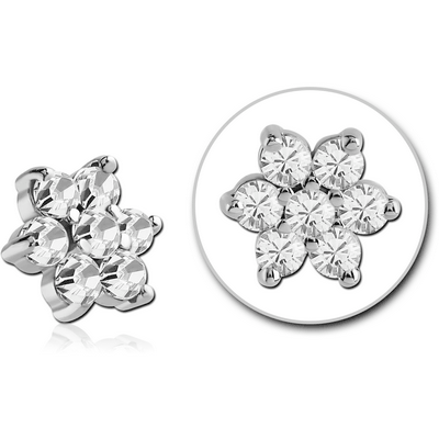 SURGICAL STEEL JEWELLED ATTACHMENT FOR 1.6MM INTERNALLY THREADED PINS - FLOWER