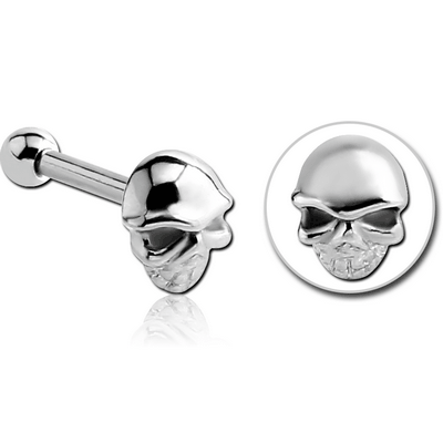 SURGICAL STEEL TRAGUS MICRO BARBELL - SKULL