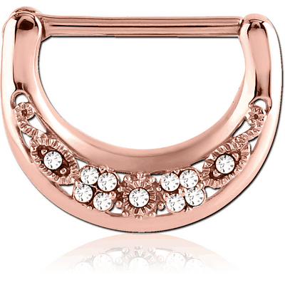 ROSE GOLD PVD COATED SURGICAL STEEL SWAROVSKI CRYSTALS JEWELLED NIPPLE CLICKER