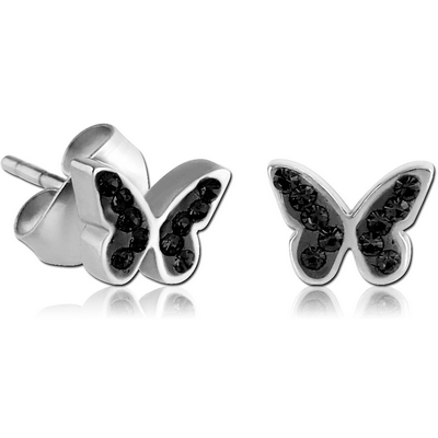 SURGICAL STEEL CRYSTALINE JEWELLED EAR STUDS PAIR - BUTTERFLY