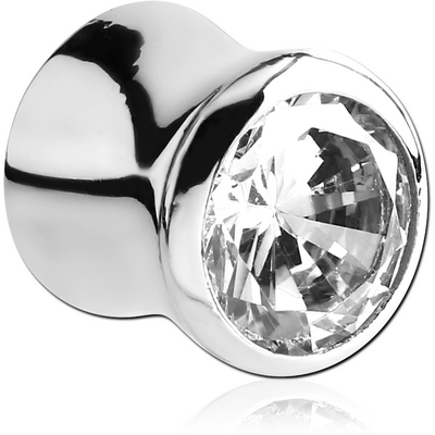SURGICAL STEEL JEWELLED FLARED TUNNEL - ROUND