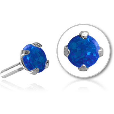 SURGICAL STEEL SYNTHETIC OPAL JEWELLED PUSH FIT ATTACHMENT FOR BIOFLEX INTERNAL LABRET - ROUND