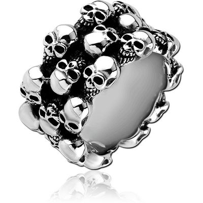 SURGICAL STEEL RING - SKULL 3 ROWS