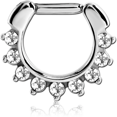 SURGICAL STEEL ROUND VALUE jewelled HINGED SEPTUM CLICKER