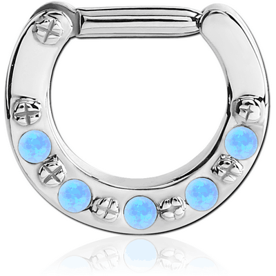 SURGICAL STEEL ROUND SYNTHETIC OPAL HINGED SEPTUM CLICKER