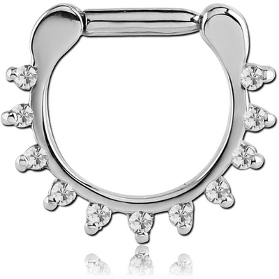 SURGICAL STEEL ROUND PRONG SET JEWELED HINGED SEPTUM CLICKER