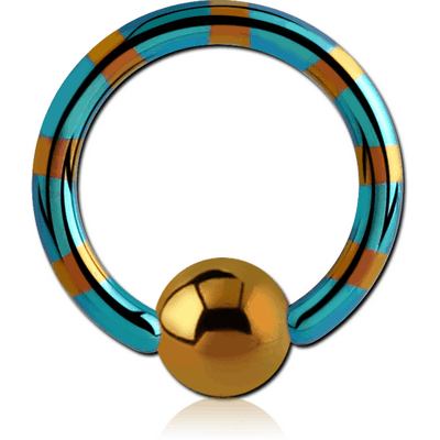 ANODISED TWO TONE TITANIUM BALL CLOSURE RING WITH GREEN BALL