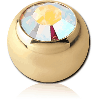 ZIRCON GOLD PVD COATED SURGICAL STEEL SWAROVSKI CRYSTAL JEWELLED MICRO BALL
