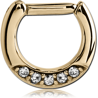 ZIRCON GOLD PVD COATED SURGICAL STEEL ROUND JEWELLED HINGED SEPTUM CLICKER
