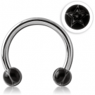 SURGICAL STEEL MICRO CIRCULAR BARBELL WITH UV ACRYLIC STAR BALLS PIERCING