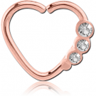 ROSE GOLD PVD COATED SURGICAL STEEL OPEN HEART SEAMLESS RING PIERCING