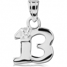 STERLING SILVER 925 JEWELLED PENDANT - THIRTEEN