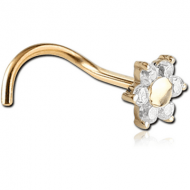 18K GOLD PRONG SET FOWER JEWELLED CURVED NOSE STUD PIERCING