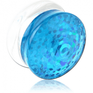 UV ACRYLIC DOUBLE FLARE CONE END PLUG WITH INLAID DESIGN PIERCING