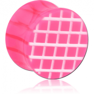 UV ACRYLIC DOUBLE FLARED PLUG WITH CROSS-HATCH PATTERN PIERCING