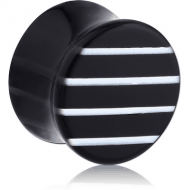 UV ACRYLIC DOUBLE FLARED PLUG WITH LINE PATTERN PIERCING