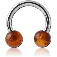 SURGICAL STEEL CIRCULAR BARBELL WITH AMBER BALLS PIERCING