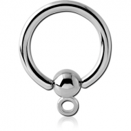 SURGICAL STEEL BALL CLOSURE RING WITH HOOP PIERCING