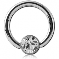 SURGICAL STEEL SWAROVSKI CRYSTAL JEWELLED DISC BALL CLOSURE RING PIERCING