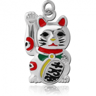 RHODIUM PLATED BRASS CHARM WITH ENAMEL - CHINESE CAT