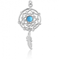 RHODIUM PLATED BRASS CHARM - DREAMCATCHER WITH FEATHER