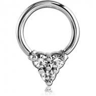 SURGICAL STEEL BALL CLOSURE RING WITH jewelled ATTACHMENT - PYRAMID PIERCING