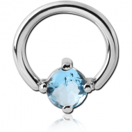 SURGICAL STEEL BALL CLOSURE RING WITH PRONG SET JEWELLED ATTACHMENT - ROUND PIERCING