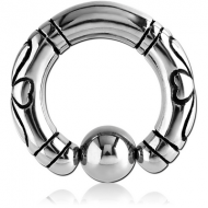 SURGICAL STEEL DESIGN BALL CLOSURE RING PIERCING