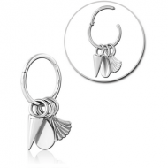 SURGICAL STEEL HINGED SEGMENT RING WITH CHARM PIERCING