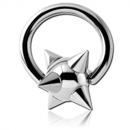 SURGICAL STEEL BALL CLOSURE RING WITH SPIKEY BALL PIERCING