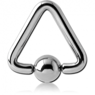 SURGICAL STEEL TRIANGLE BALL CLOSURE RING PIERCING