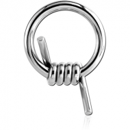 SURGICAL STEEL BALL CLOSURE RING WITH BARBED WIRE PIERCING