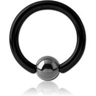 BLACK PVD SURGICAL STEEL BALL CLOSURE RING WITH HEMATITE BALL PIERCING
