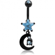 BLACK PVD COATED DOUBLE JEWELLED STAR FASHION NAVEL BANANA WITH MOON CHARM PIERCING