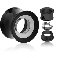 BLACK PVD COATED STAINLESS STEEL DOUBLE FLARED THREADED TUNNEL FOR REMOVABLE INSERT EMPTY PART PIERCING