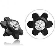BLACK PVD COATED SURGICAL STEEL SWAROVSKI CRYSTAL JEWELLED FLOWER FOR 1.2MM INTERNALLY THREADED PINS PIERCING