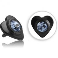 BLACK PVD COATED SURGICAL STEEL SWAROVSKI CRYSTAL JEWELLED HEART FOR 1.2MM INTERNALLY THREADED PINS PIERCING