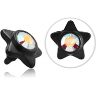 BLACK PVD COATED SURGICAL STEEL SWAROVSKI CRYSTAL JEWELLED STAR FOR 1.2MM INTERNALLY THREADED PINS PIERCING