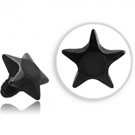 BLACK PVD COATED SURGICAL STEEL STAR FOR 1.6MM INTERNALLY THREADED PINS PIERCING