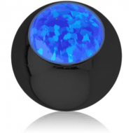 BLACK PVD COATED SURGICAL STEEL JEWELLED BALL WITH SYNTHETIC OPAL PIERCING