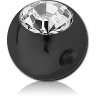 BLACK PVD COATED SURGICAL STEEL SWAROVSKI CRYSTAL JEWELLED BALL FOR BALL CLOSURE RING PIERCING