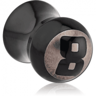 BLACK PVD COATED SURGICAL STEEL DOUBLE FLARED 8 BALL PLUG PIERCING