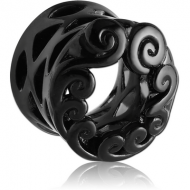 BLACK PVD COATED SURGICAL STEEL DOUBLE FLARED HOLLOW PLUG PIERCING