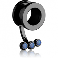 BLACK PVD COATED STAINLESS STEEL THREADED TUNNEL WITH SYNTHETIC OPAL PIERCING